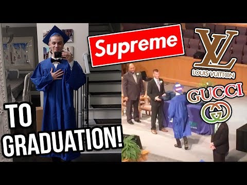 Wearing a CRAZY OUTFIT at my High School Graduation! (Gucci, Louis Vuitton, Supreme)