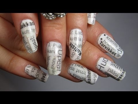 Black and White Newspaper Nail Art Tutorial