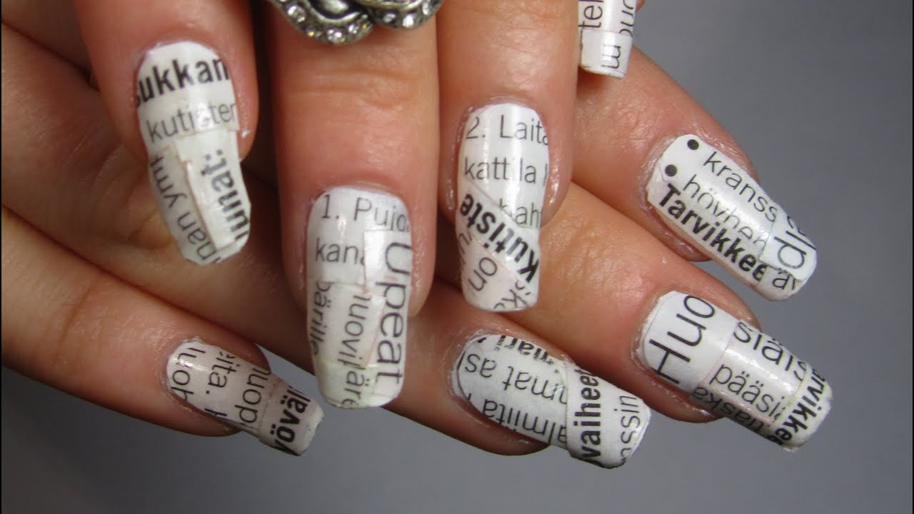 Rihanna Musicvideo Inspired Design Black And White Newspaper Nail
