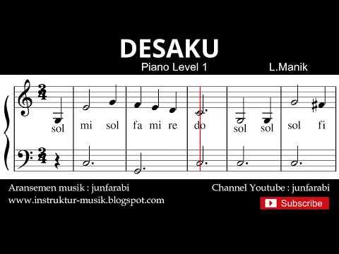 Not Balok Desaku - Tutorial Piano Grade 1 - Notasi Lagu Anak - Doremi Solmisasi
