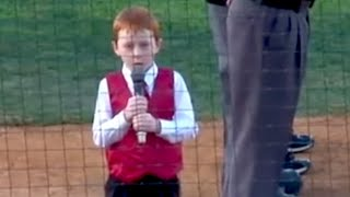 Cute Kid Sings National Anthem With Hiccups | What's Trending Now