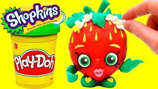 Strawberry Kiss Shopkins Play Doh STOP MOTION funny video for kids