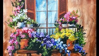Flowers in the Window on a Balcony Beginner Acrylic Painting Tutorial by Ginger Cook