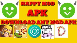 Gambar cover how to download any mod apk for free. happy mod apk. 100% real.