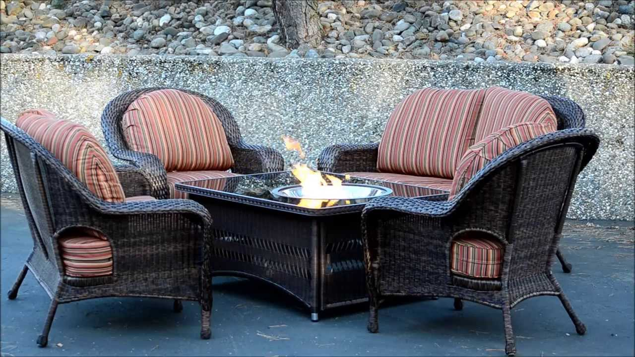 Naples Fire Pit Table with Balsam Wicker Patio Furniture Set with