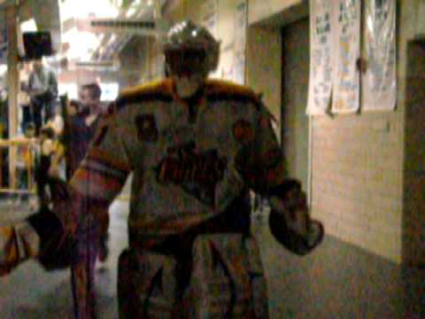 Kris Mayotte going to the locker room