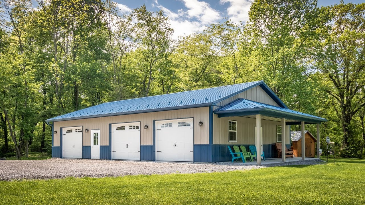 Young Garage with Gallery Blue ABM Panel Accents - A B  Martin