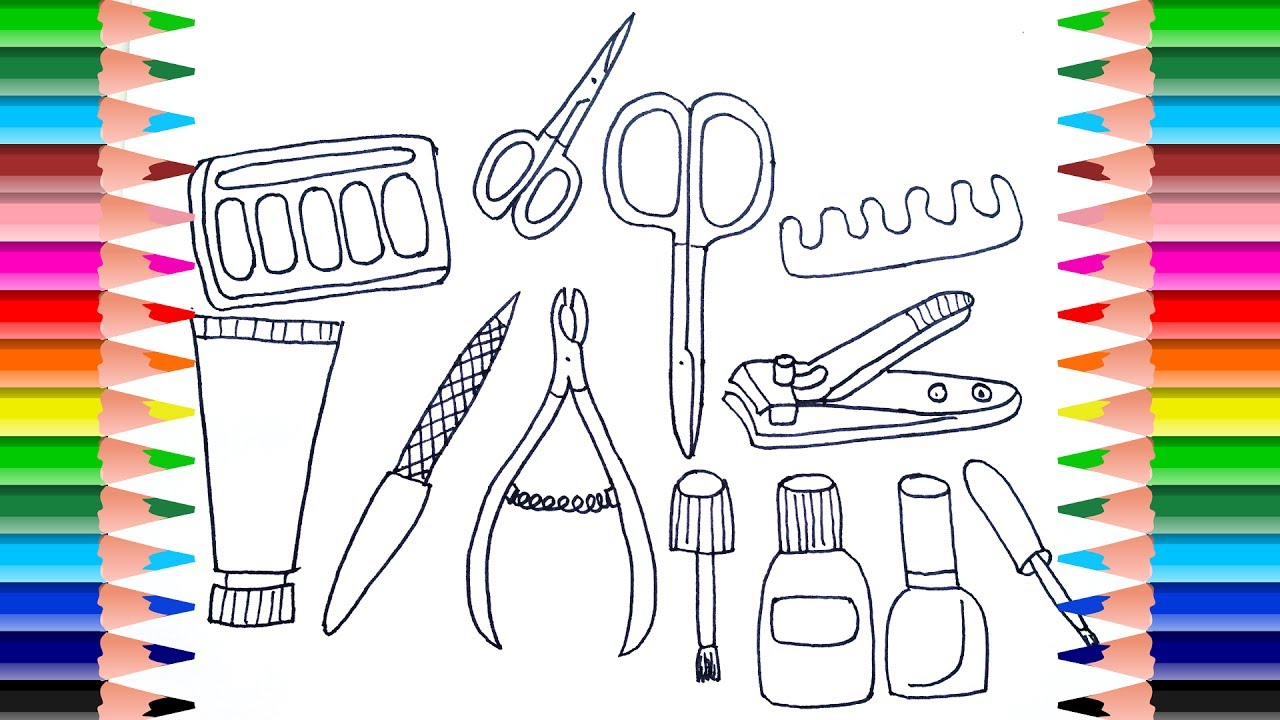 How To Draw Set For Nail Polish Coloring Pages Manicure