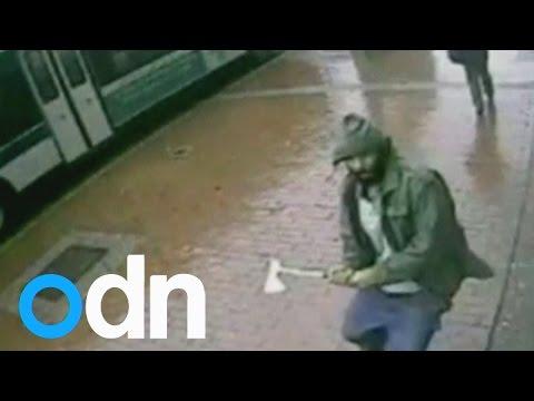 CCTV footage of hatchet wielding attacker in New York