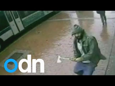 CCTV footage of hatchet wielding attacker in New York