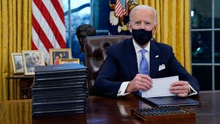 video: Joe Biden signs 15 executive orders on first day in Oval Office, reversing Trump's wall and rejoining Paris climate deal - latest news