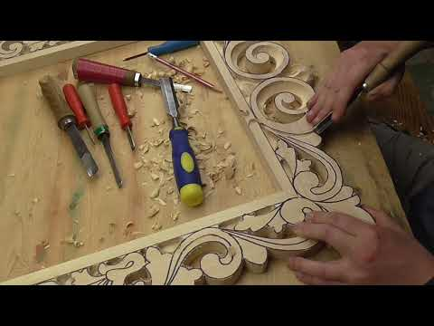 резная рамка под зеркало первая часть, резьба по дереву
