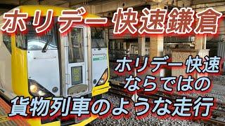 【武蔵野線での通過運転 ホリデー快速鎌倉 E257系がミュージックホーンを鳴らして颯爽と駆け抜ける】