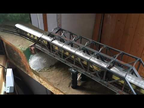 Fred's  Wilbury Line GW&SFH Model Railway  Christmas greeting ,kit bashed bridge & train running 3