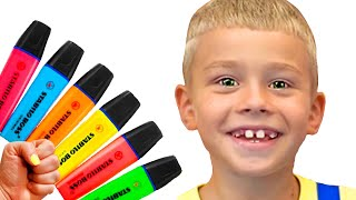 Pretends to play with his Magic Pen -  Preschool toddler learn color with Tamik