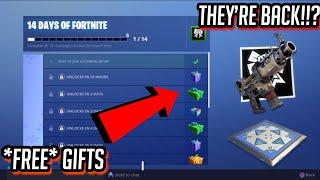 How to get *FREE* Gifts in Fortnite | 14 Days of Fortnite Event + Tac SMG & Bouncers are back