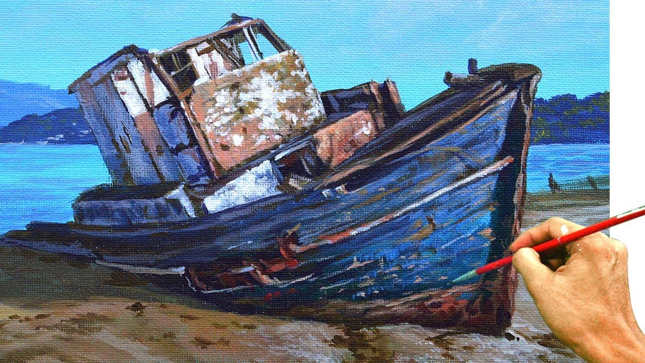 Acrylic Landscape Painting in Time-lapse / Old Rusty Boat / JMLisondra
