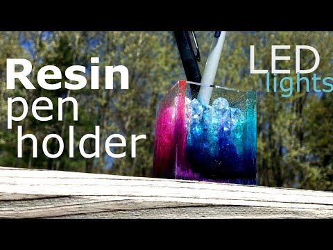 Watch me make a resin pen holder with led lights, inks & diamonds