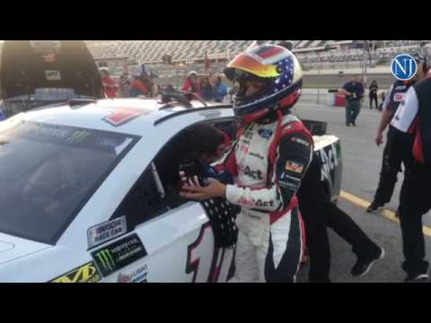 Danica Patrick returns to here garage after Sprint Cup practice at Daytona International Speedway Fr