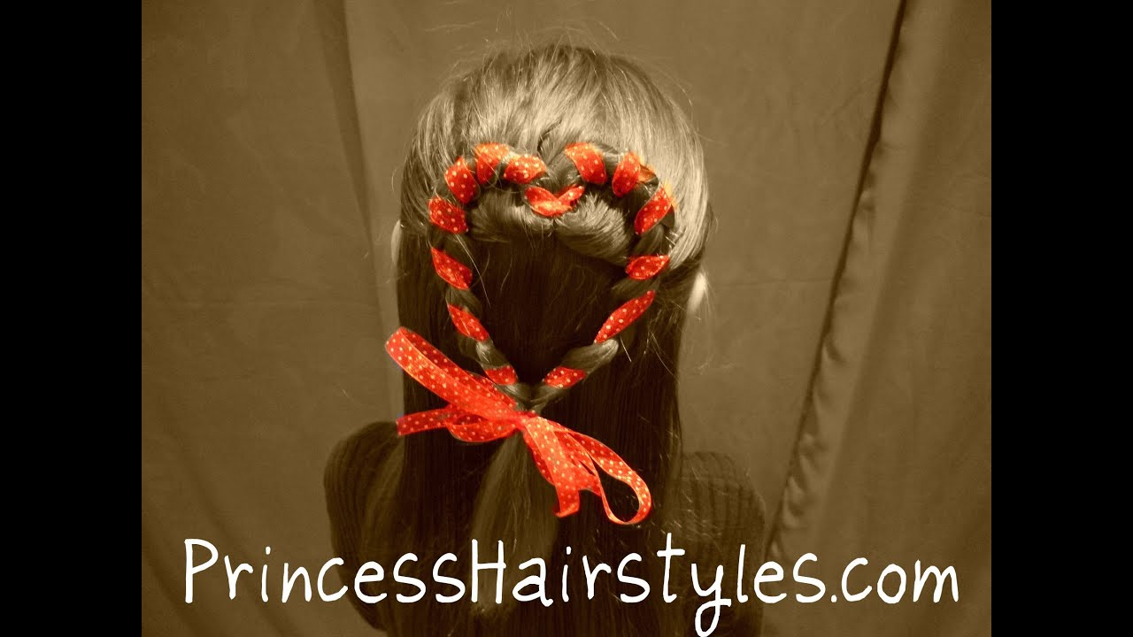 Heart Hair, Half Ponytail Ribbon Braids, Valentines