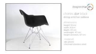 Eames Dining Armchair Rodbase (dar) Black