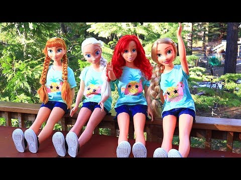 Frozen Elsa Anna Rapunzel & Ariel Cabin Vacation  Toys and Dolls Pretend Play for Kids  SWTAD