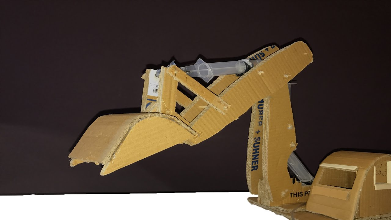 Cardboard Hydraulic Ar : How to make a syringe operated hydraulic excavator jcb