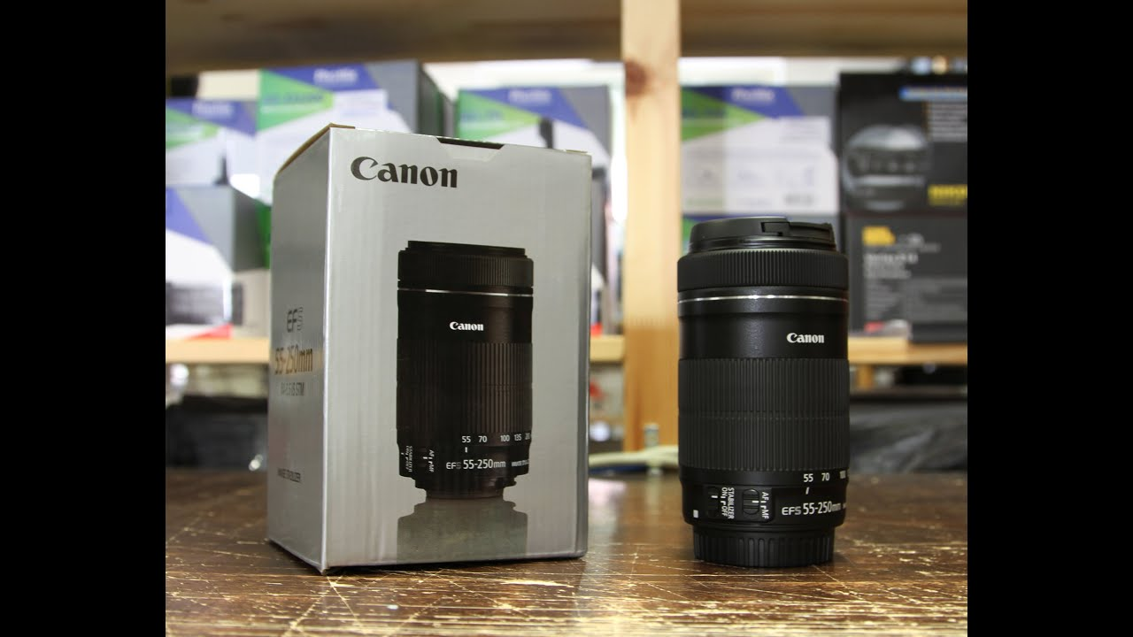 canon ef s 55 250mm f 4 5 6 is con nuovo autofocus stm youtube. Black Bedroom Furniture Sets. Home Design Ideas
