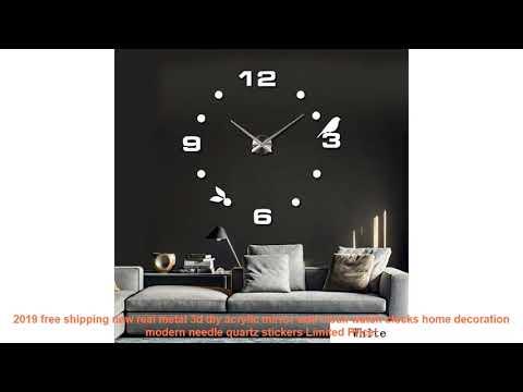 2019 free shipping new real metal 3d diy acrylic mirror wall clock wat