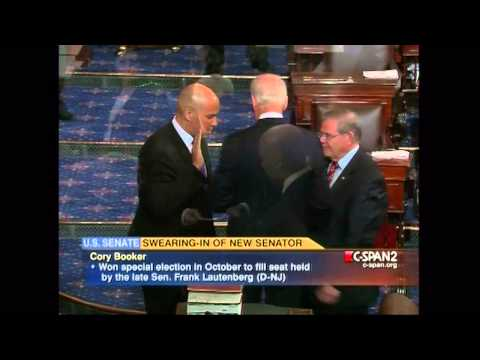 Vice President Joe Biden swears in Cory Booker as a U.S. Senator