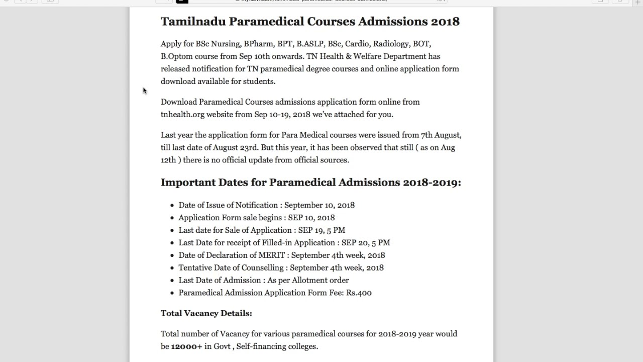 TN Paramedical Course Application Form 2018 #ParamedicalAdmissions
