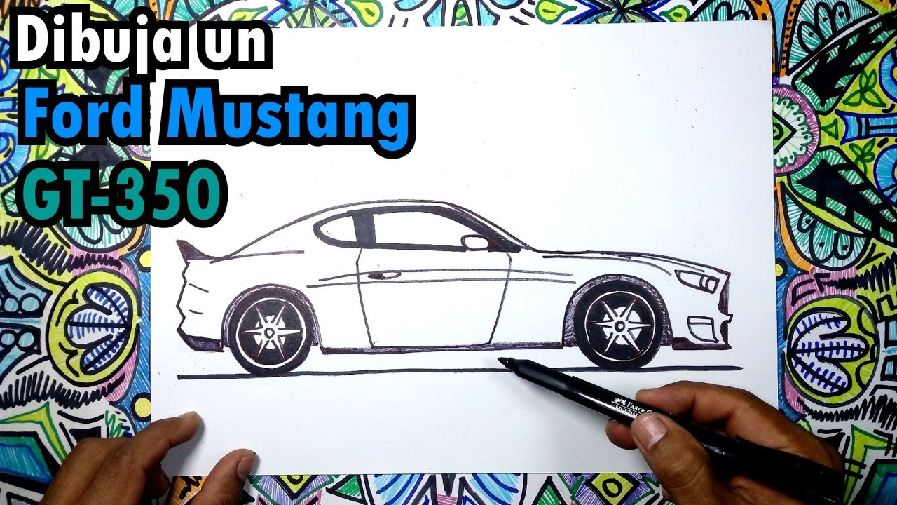 Cómo dibujar un Auto Ford Mustang GT-350 Paso a paso - YouTube