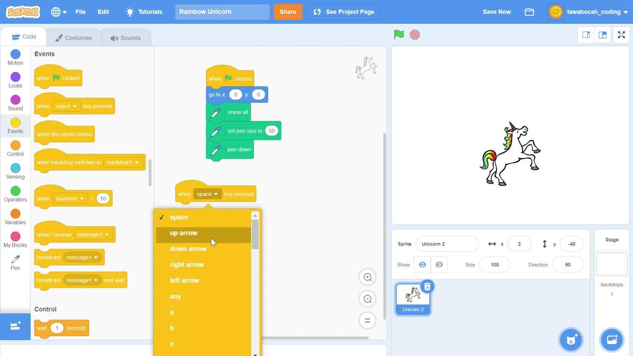 Membuat Rainbow Unicorn dengan Scratch - 10 menit belajar Coding untuk Anak