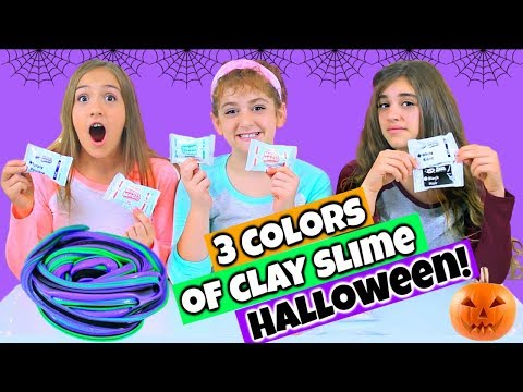 3 Colors Of Clay Slime Challenge - Halloween!
