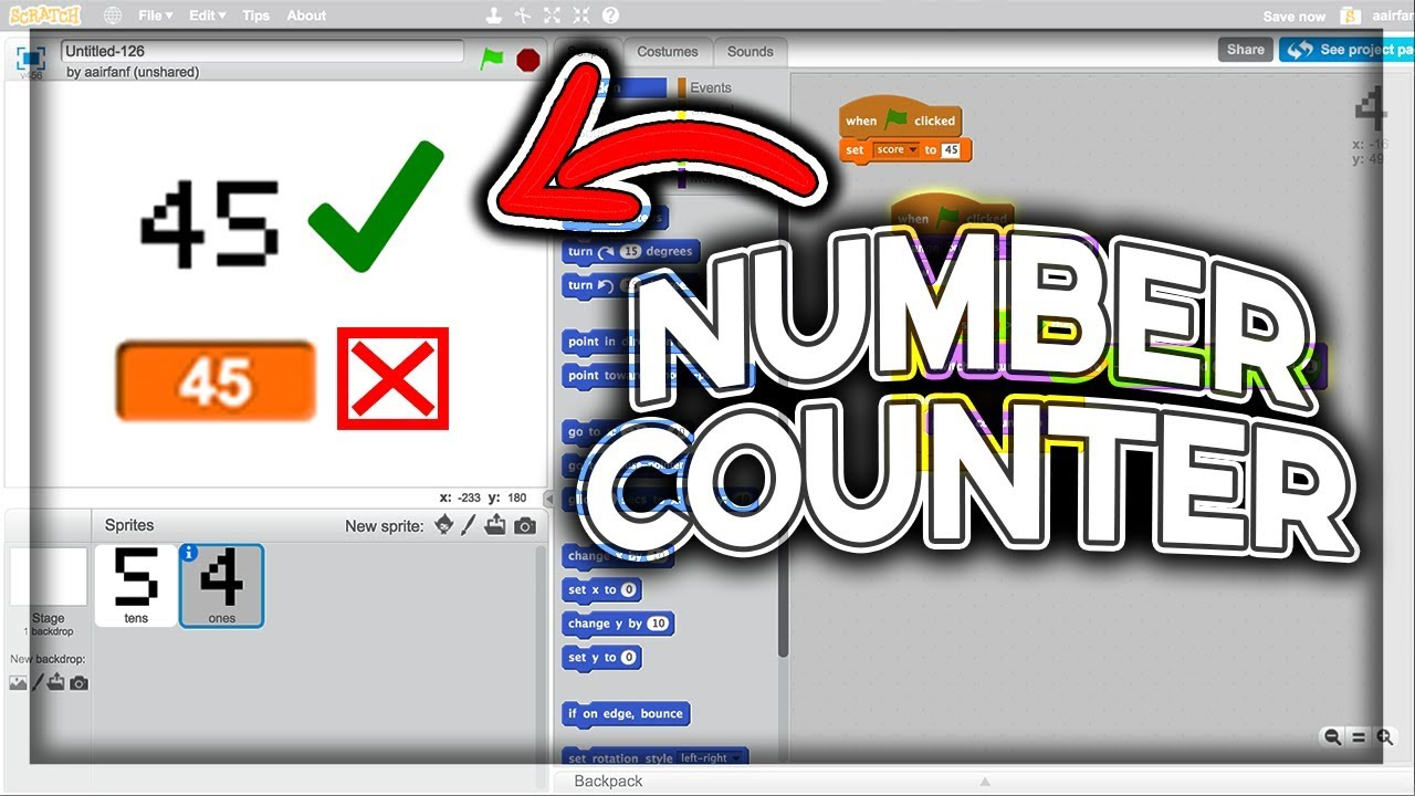 Scratch Tutorial: How to make a Number Counter (display numbers)