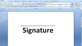 How to draw signature line in word
