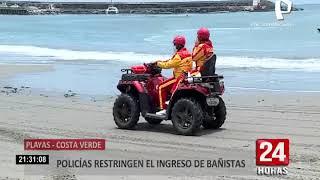 Costa Verde: policías restringen el ingreso de bañistas