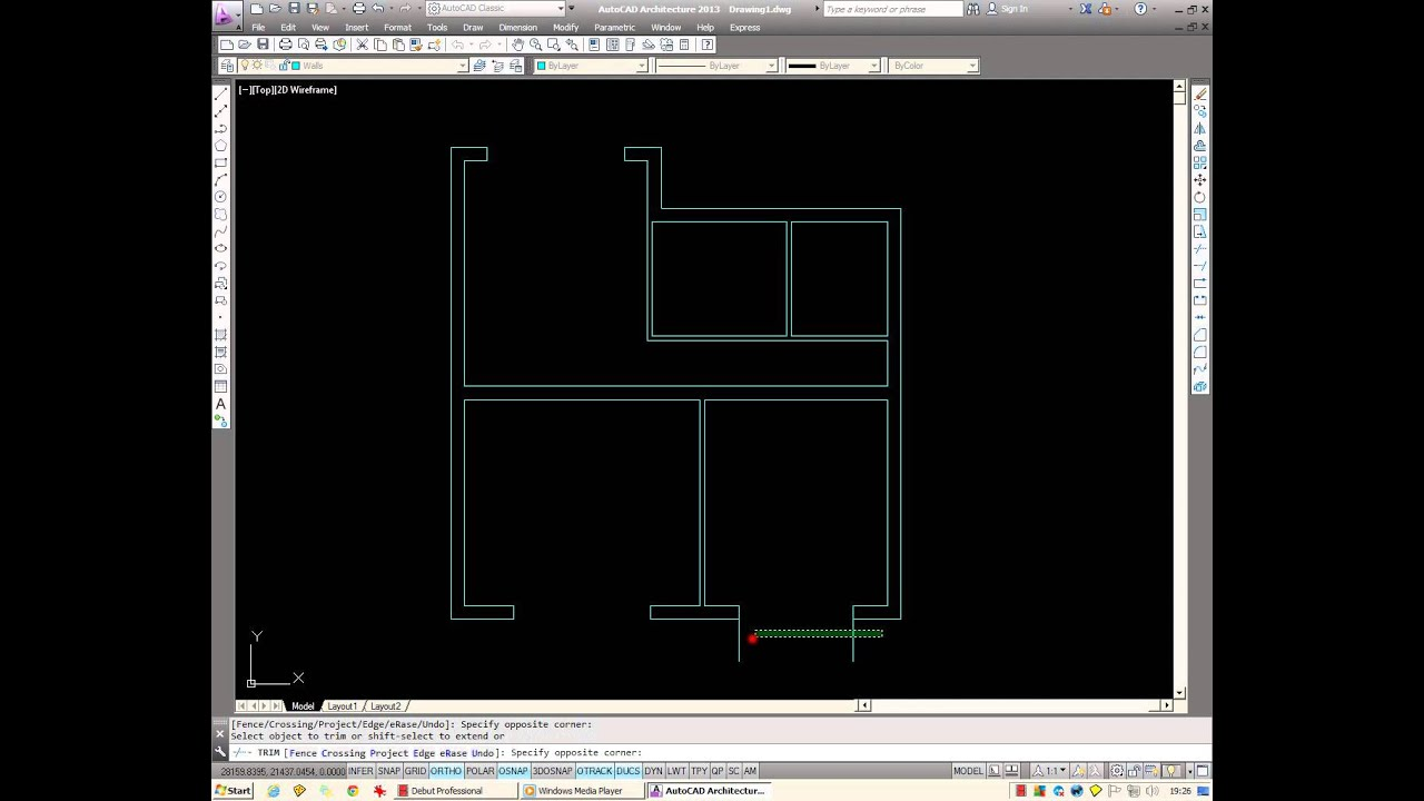 AutoCAD: How to draw a basic architectural floor plan. - YouTube
