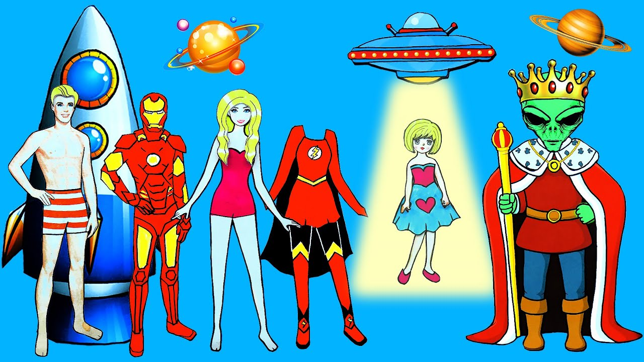 Paper Dolls Dress Up Costumes Super Hero & Alien Simple Papercrafts Dresses Handmade Quiet Book #2