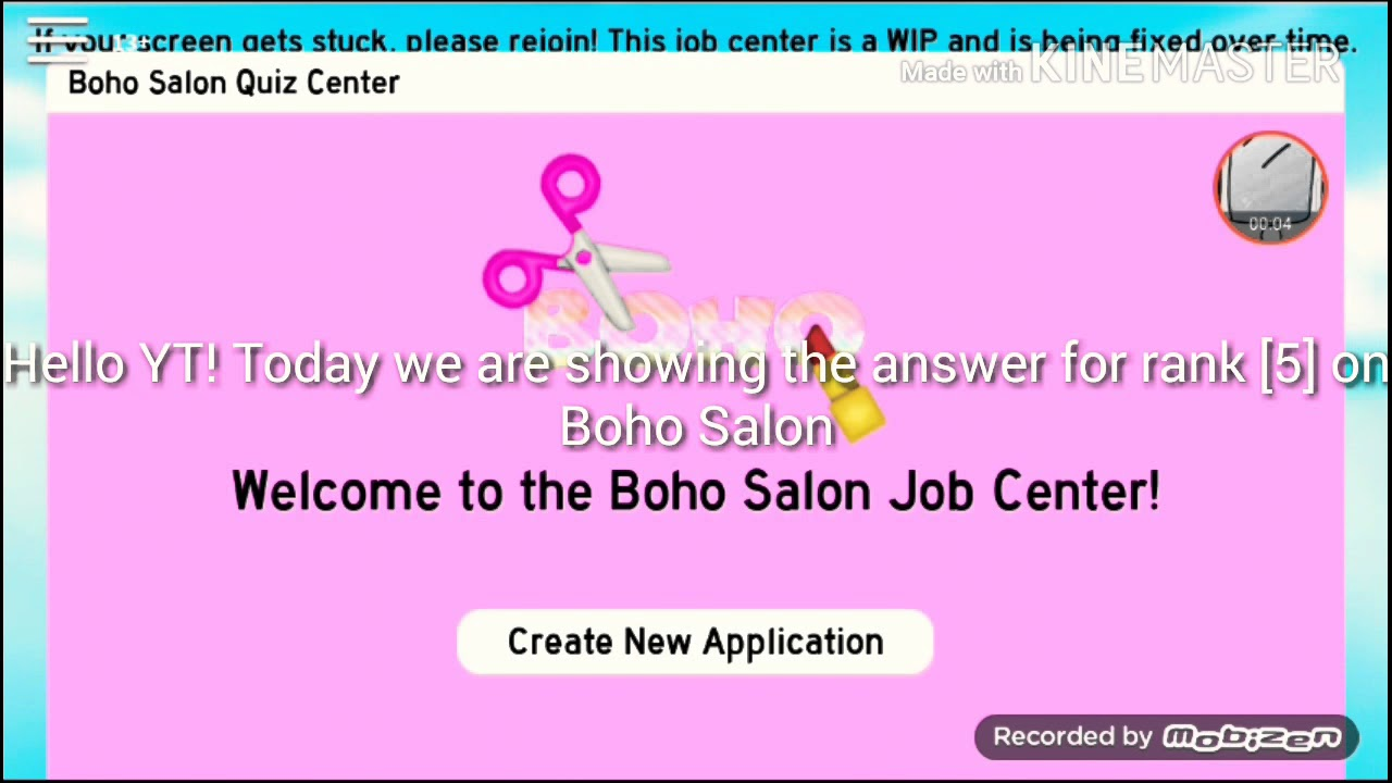 Answers For Rank 5 Receptionists At Boho Salon Application