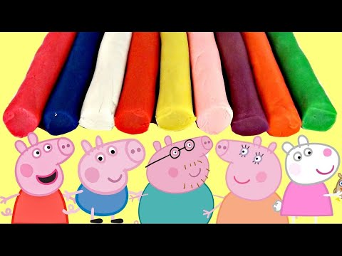 Thumbnail: Best Learn Colors PEPPA PIG Play-doh Cookie Cutters, Gumballs, Mold George Friends Toys TUYC