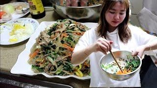 Lần đâu tiên con dâu Việt nấu Miến Trộn Japchae Hàn Quốc cho gia đình chồng 🇰🇷269