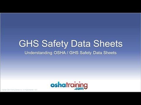 Free OSHA Training Tutorial - Understanding GHS Safety Data Sheets (SDS's)