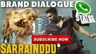 Allu Arjun Erra Tholu || Sarrainodu Brand Dialogue ||