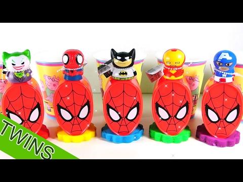 Playdoh Surpriseeggs Spiderman Superhero Learn Color Batman Captain America Peppapig Video