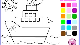 Boats Coloring Pages For Kids - Boats Coloring Pages