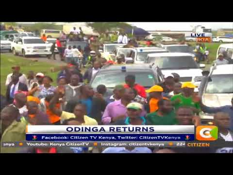 Raila Odinga arrives at JKIA