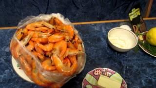 Жаренные креветки с соусом