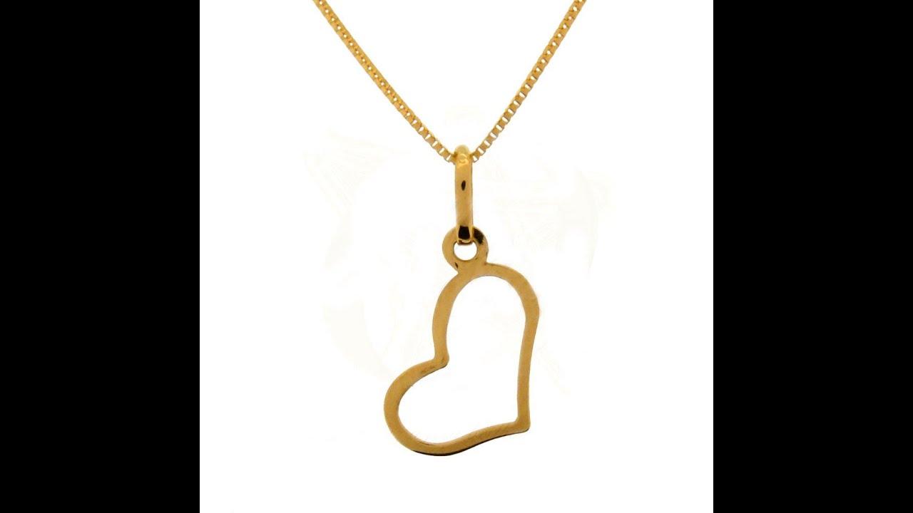 edc70f9f0de39 Colar Veneziana e Pingente Coração Vazado De Ouro 18k Naipe de Ouro  Joalheria