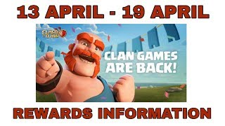 UPCOMING 13 APRIL 2019 CLAN GAMES REWARDS FULL INFORMATION 100% RIGHT